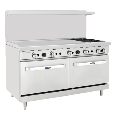 "Atosa 60"" Wide Two Burners Gas Range With 48"" Griddle"
