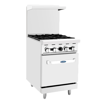 "superior-equipment-supply - Atosa Catering Equipment - Atosa  Four Burner Gas Range 24"" Wide & 20""W Oven"