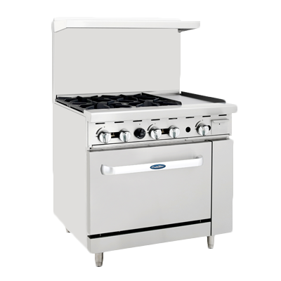 "superior-equipment-supply - Atosa Catering Equipment - Atosa 36"" Wide Four Open Burner Gas Range With 12""W Griddle"
