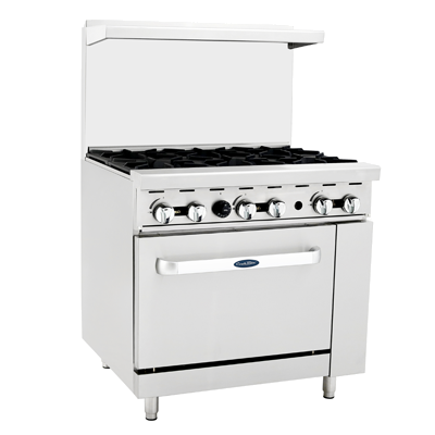"Atosa Six Burner 36"" Wide Gas Range With 26-1/2"" Wide Oven"