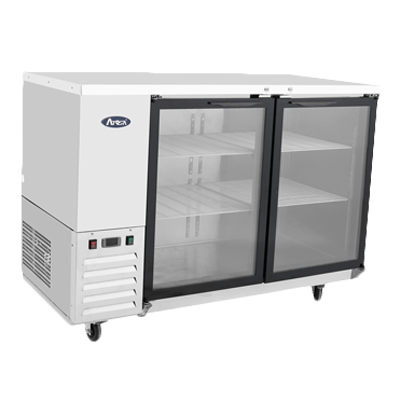 "superior-equipment-supply - Atosa Catering Equipment - Atosa Stainless Steel 57.8"" Wide Refrigerated Bar Cooler With Two Glass Doors"