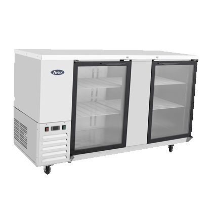 "Atosa Stainless Steel 68"" Wide Refrigerated Bar Cooler With Two Glass Doors"