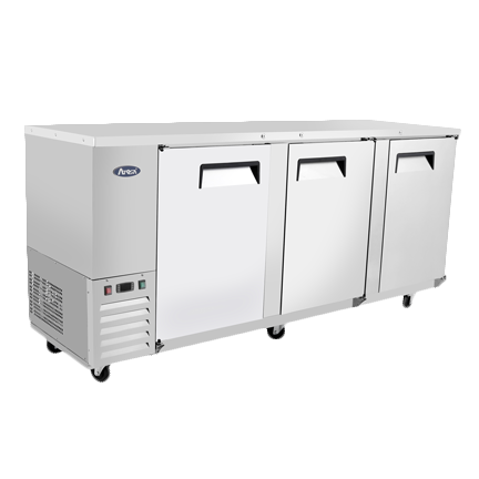 "superior-equipment-supply - Atosa Catering Equipment - Atosa Stainless Steel 89"" Wide Refrigerated Bar Cooler With Three Solid Doors"