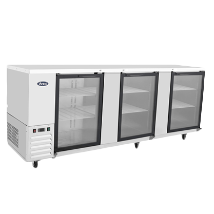 "Atosa Stainless Steel 89"" Wide Refrigerated Bar Cooler With Three Glass Doors"