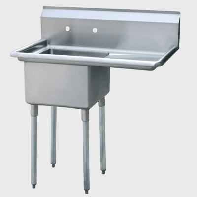 "Atosa Stainless Steel 39"" Wide One Compartment Sink With Right Drainboard"