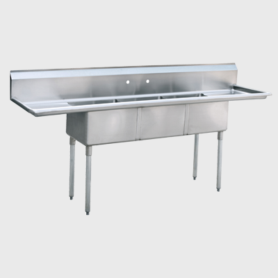 "Atosa Stainless Steel 90"" Wide Three Compartment Sink With Left & Right Drain"