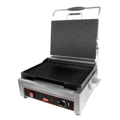 "Grindmaster Cecilware Sandwich/Panini Grill Single 14""W Grooved Surface Stainless Steel"