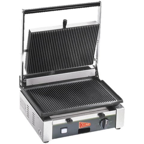 "Grindmaster Cecilware Sandwich/Panini Grill Single 14-1/2""W Grooved Surface Stainless Steel"