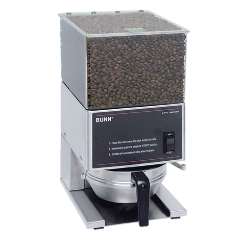 BUNN Coffee Grinder Low Profile Portion Control Single 6 lbs. Hopper