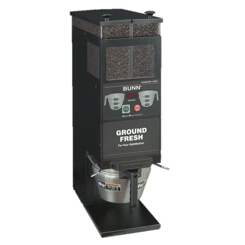BUNN Coffee Grinder Portion Control Dual 6 lb. Hoppers Black Decor