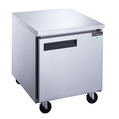 "Dukers Solid One Door Reach-In Undercounter Freezer Bottom Mount 29"" Wide Stainless Steel"