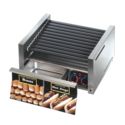superior-equipment-supply - Star Manufacturing - Star Stainless Steel Electronic Controls Hot Dog Grill With 30 Hot Dogs & 32 Buns Capacity
