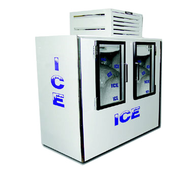 "superior-equipment-supply - Fogel Inc - Fogel White Exterior 85 Cubic Foot Two Glass Door Indoor Ice Merchandiser 96"" Wide"