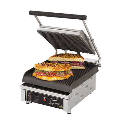 "superior-equipment-supply - Star Manufacturimg - Star Electric Two-Sided Sandwich Grill Grooved Iron Grill Plates 10"" Wide Cooking Surface"