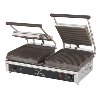 "superior-equipment-supply - Star Manufacturimg - Star Two-Sided Electric Sandwich Grill 20"" Wide Cooking Surface Grooved Iron Grill Plates"