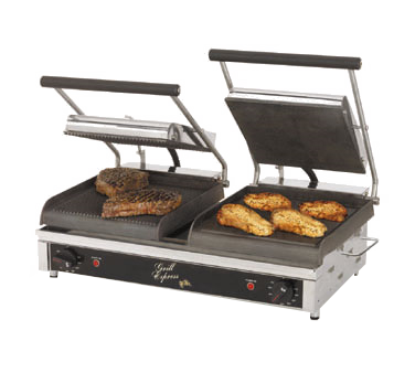 "Star Two-Sided Electric Sandwich Grill 20"" Wide Cooking Surface Smooth/Grooved Iron Grill Plates"