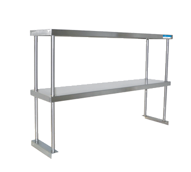 "Bk Resources Double Overshelf Table Mounted 48""W x 18""D x 31-1/4""H, Stainless Steel"