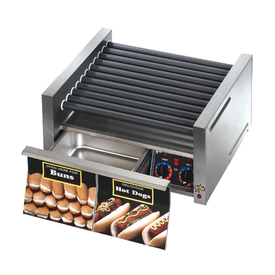 superior-equipment-supply - Star Manufacturimg - Star Grill-Max Hot Dog Grill Roller-Type With Integrated Bun Drawer 30 Hot Dog Capacity