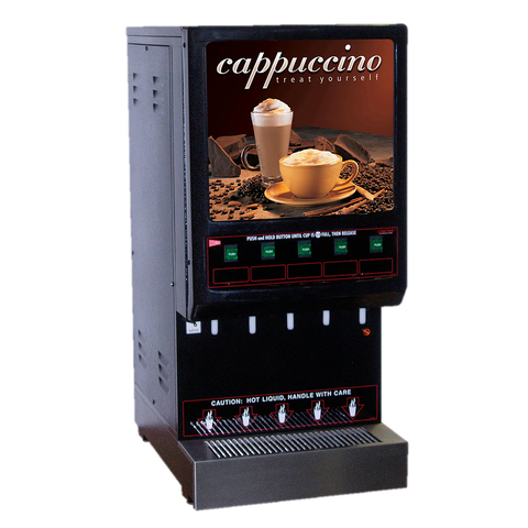 Grindmaster Cecilware GB Powder Cappuccino Dispenser, Electric, (5) 4 lbs Capacity Hoppers 3.75 Gallon Capacity Water Tank