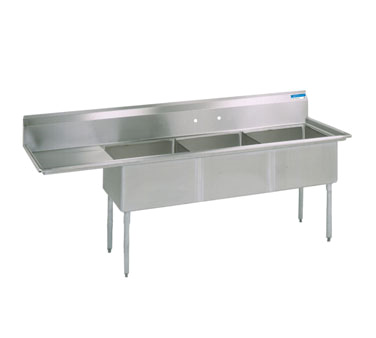 "superior-equipment-supply - BK Resources - BK Resources Sink, 3-Compartment, 68-1/2""W x 25-13/16""D, Stainless Steel"
