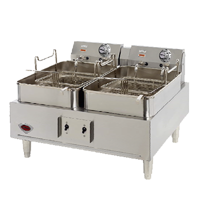 superior-equipment-supply - Well's - Wells Stainless Steel Dual 15 lb. Capacity Electric Countertop Fryer