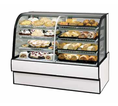"superior-equipment-supply - Federal Industries - Federal Industries, Curved Glass Vertical Dual Zone Bakery Case Refrigerated Left Non-Refrigerated Right, 59""W x 35""D x 48""H, Choice Of Laminate With Black Trim"