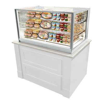 "Federal Industries Refrigerated Counter Display Case, Drop-In Model, 48"" W x 34"" D x 26"" H, Gray Textured Exterior"