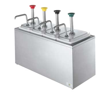 Server Products, Topping Dispenser, SR-4 Non-Insulated Rail Combo, 3 5 Qt  Capacity, (4) Stainless Steel Pumps, Stainless Steel Rail