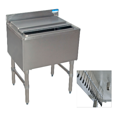 "BK Resources Stainless Steel 36"" Wide 100 lb. Capacity Underbar Ice Bin With 8-Circuit Cold Plate"