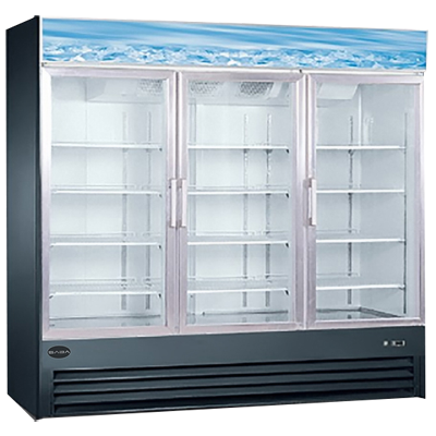 "Saba 79.5"" Wide Aluminum Interior Reach In Three Section Freezer With Three Glass Doors"