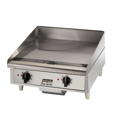 "Toastmaster Griddle Electric 24""W x 27.81""D x 15.53""H Silver Steel Radiants Nickel Plated Steel Legs Stainless Steel Front With Removable Drip Tray"