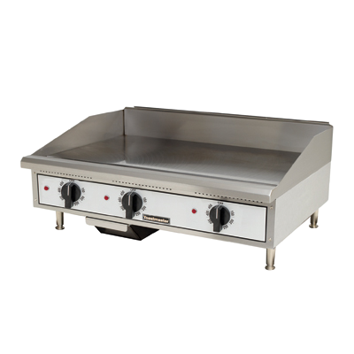 "Toastmaster Griddle Electric 36""W x 27.81""D x 15.53""H Silver Steel Radiants Nickel Plated Steel Legs Stainless Steel Front With Removable Drip Tray"