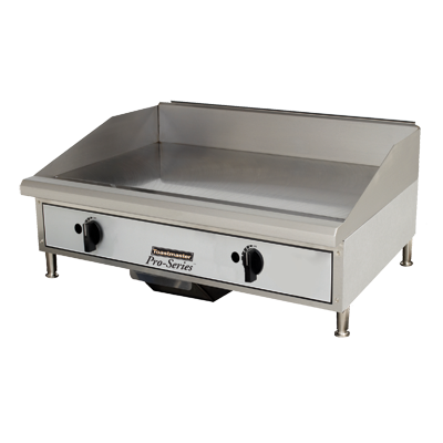 "Toastmaster Griddle Natural Gas 24""W x 27.81""D x 15.53""H Silver Steel Radiants Nickel Plated Steel Legs Stainless Steel Front With Removable Drip Pan"