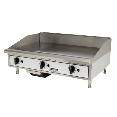 "Toastmaster Griddle Natural Gas 36""W x 27.81""D x 15.53""H Silver Steel Radiants Nickel Plated Steel Legs Stainless Steel Front With Removable Drip Pan"