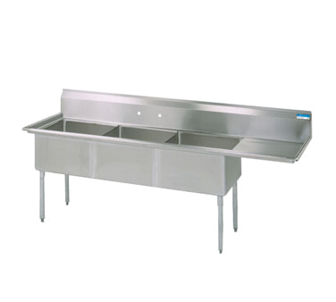 "superior-equipment-supply - BK Resources - BK Resources Three Compartment Sink 62-1/2""W x 20-13/16""D, Stainless Steel"