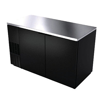 "superior-equipment-supply - BK Resources - BK Resources Black Vinyl Exterior Back Bar Cooler Two Solid Panel 90° Stay Open Doors, 59-1/2"" Wide"