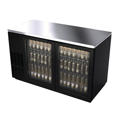 "BK Resources Black Vinyl Exterior Back Bar Cooler Two Glass 90° Stay Open Doors, 59-1/2"" Wide"
