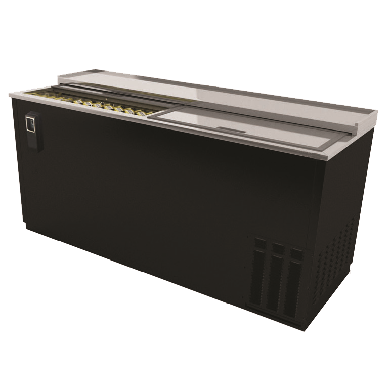 "superior-equipment-supply - BK Resources - BK Resources Black Vinyl Exterior Bottle Cooler Two Sliding Doors 65-1/2"" Wide"