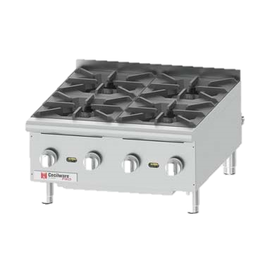 "Grindmaster-Cecilware Four Anti-Clog Burner Countertop Gas Pro Hotplate 24"" Wide"