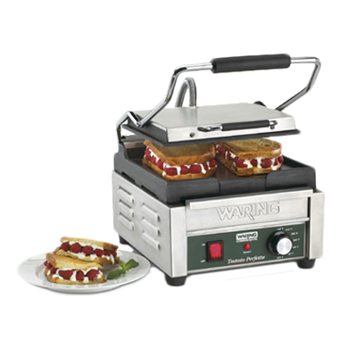 "superior-equipment-supply - Waring - Waring, Tostato Perfetto™, Compact Electric Toasting Grill, 9-1/4"" x 9-3/4"" Cooking Surface, Cast Iron Plates, Stainless Steel Body"