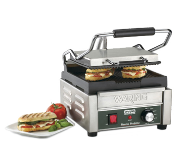 "Waring, Panini Perfetto™ Compact Panini Grill, Electric, Single, 9-1/4"" x 9-3/4"" Cooking Surface, Cast Iron Plates, Stainless Steel Body"