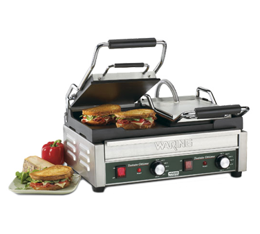 "superior-equipment-supply - Waring - Waring, Tostato Ottimo™ Dual Toasting Grill, Electric, Double, 17"" x 9-1/4"" Cooking Surface, Cast Iron Plates, Stainless Steel Body"