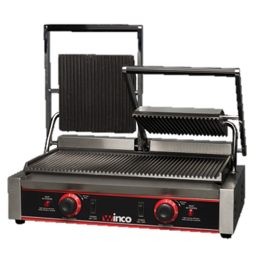 "Winco Electric Countertop Panini Style Grill Double 19"" x 9"" Ribbed Cast Iron Grill Surface"
