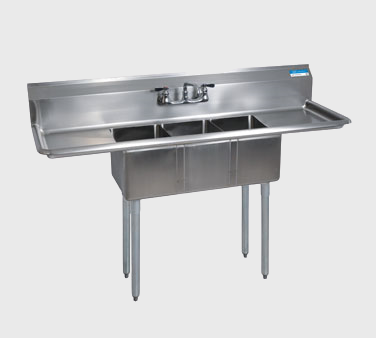 "BK Resources Stainless Steel 60""W  Convenience Store Sink Three Compartment"