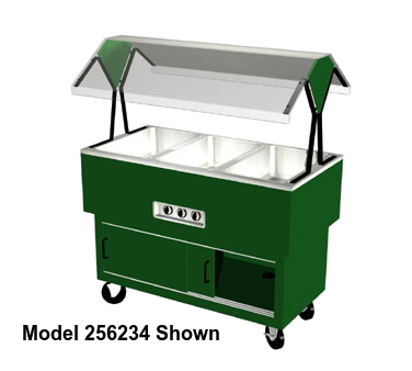 "Duke EconoMate™ Portable Buffet 58.38""D x 33.38""H x 22.5""W Stainless Steel Top Steel Base Acrylic Canopy With Rear Sliding Doors"
