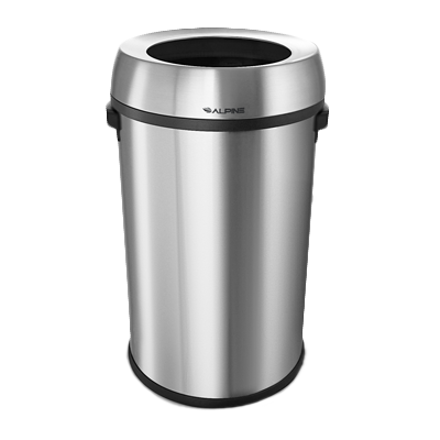 "superior-equipment-supply - Alpine Industries - Alpine Industries Trash Can Brushed 17 gallon 17"" dia. x 29-1/2""H"