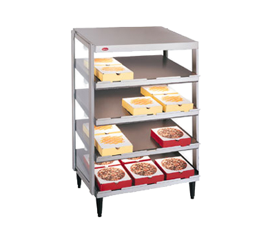 "Hatco Glo-Ray® Pass-Thru Countertop 24"" x 18"" Pizza Warmer Quad Slant Shelf Stainless Steel & Aluminum Construction"