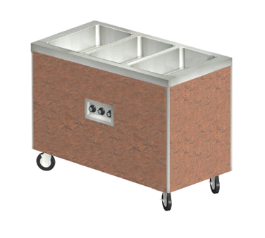 "Duke Heritage® Mobile Hot Food Buffet 46""W x 25.5""D x 36""H Stainless Steel Copper With Casters & Brakes"