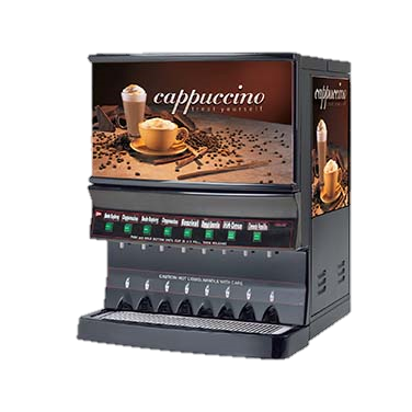 Grindmaster Cecilware Cappuccino Dispenser, Electric, High Volume, (1) 10 Lbs Capacity Hopper & (7) 5 Lbs Capacity Hoppers