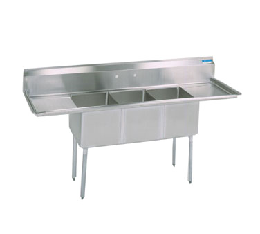 "superior-equipment-supply - BK Resources - BK Resources Stainless Steel Three Compartment NSF Sink With 15"" Left & Right Drainboards"